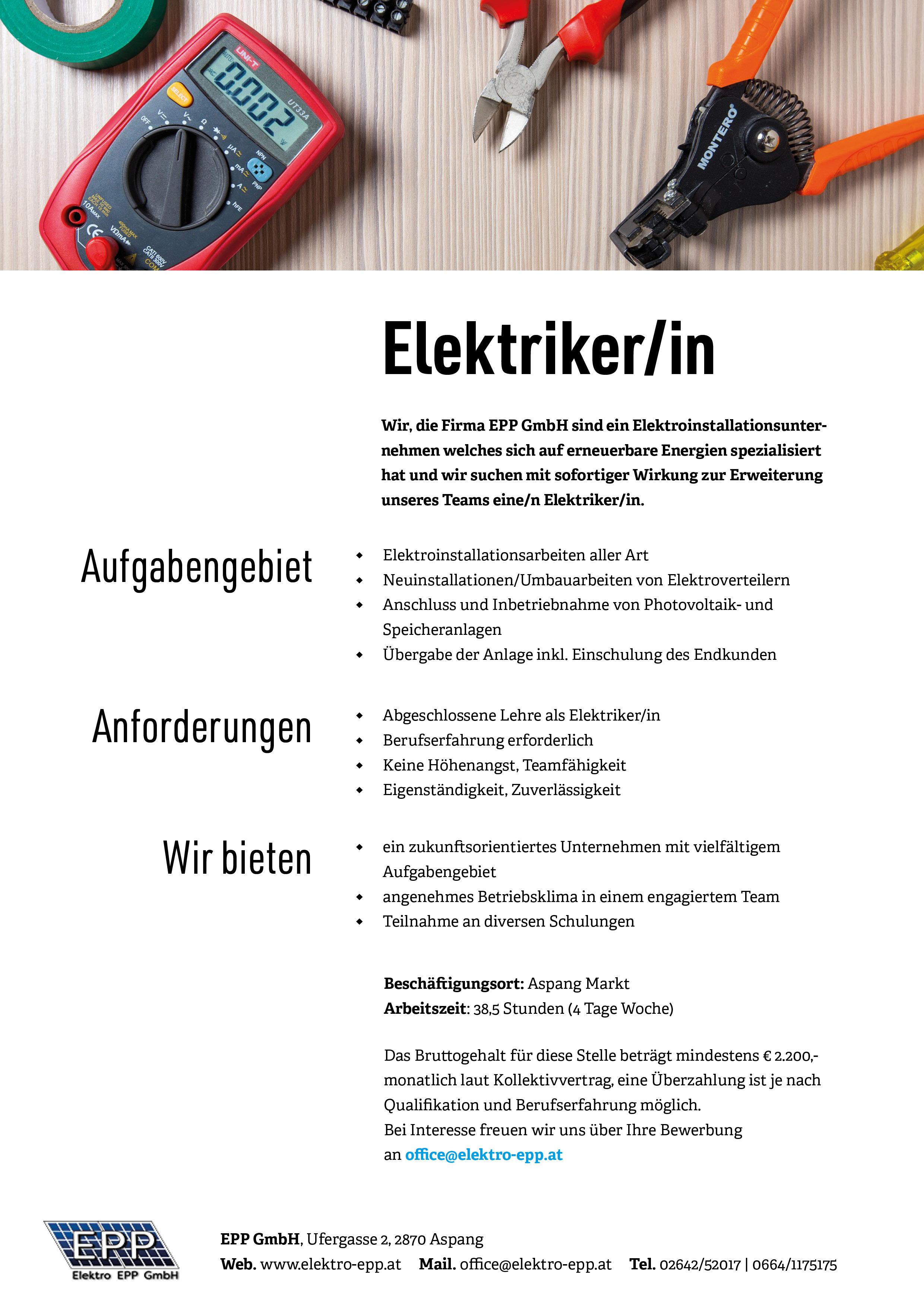 Stellenausschreibung EPP GmbH