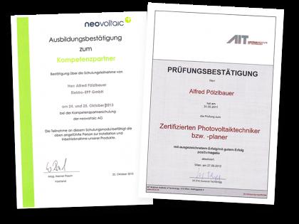 Zertifizierungen Neovoltaic